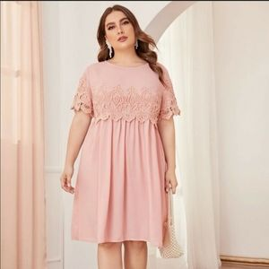 🍁 SHEIN Short Sleeve Guipure Lace Pleated Dress